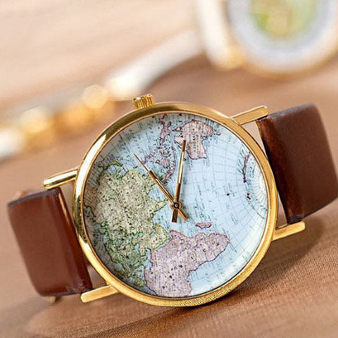 Fashion Stylish Vintage Analog Quartz Watch World Map Navigation Leather Band Bracelet Women Dress Wristwatch 24cm,1PC