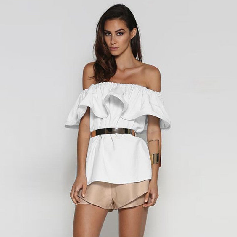 Clemonte off shoulder bardot ruffle top - white