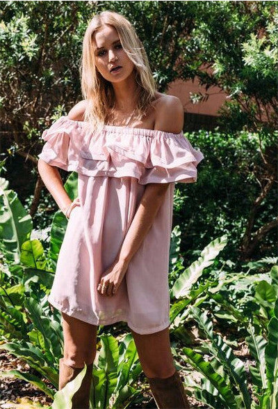 Clemonte off shoulder powder pink ruffle dress