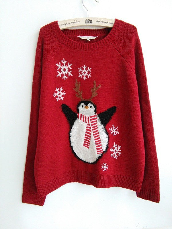 Christmas snowflakes red penguin sweater