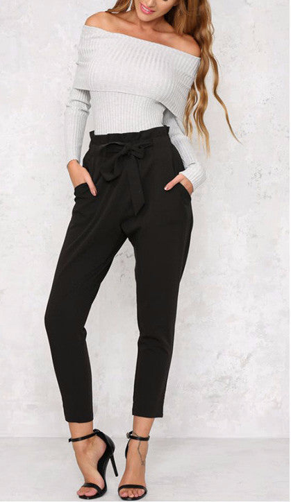 Clemonte High waist ankle grazing trousers with tie up sash - black
