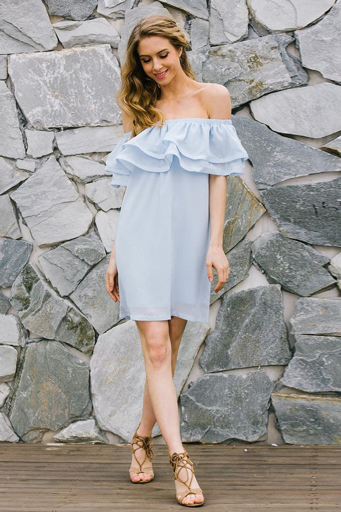 Clemonte off shoulder icy blue ruffle dress