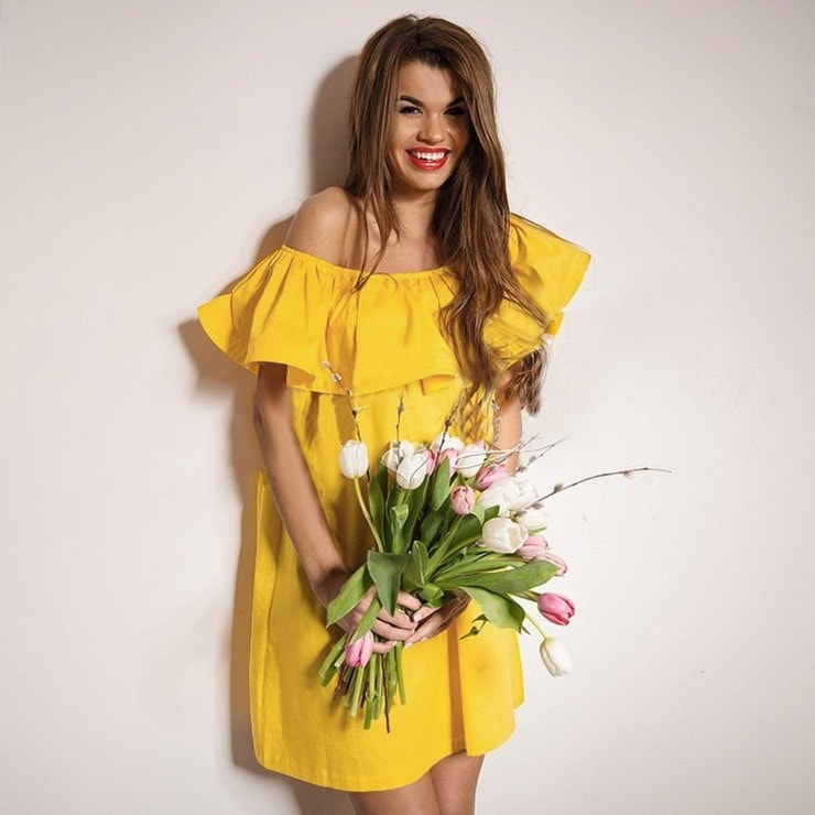 Clemonte Meisha collection - Off shoulder yellow ruffle dress