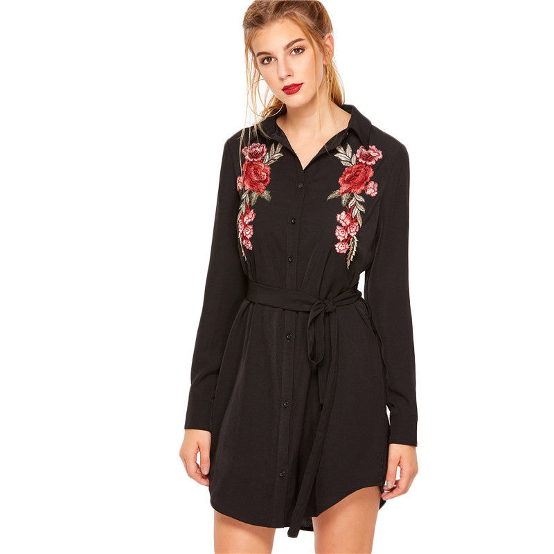 Clemonte black embroidered dress for women