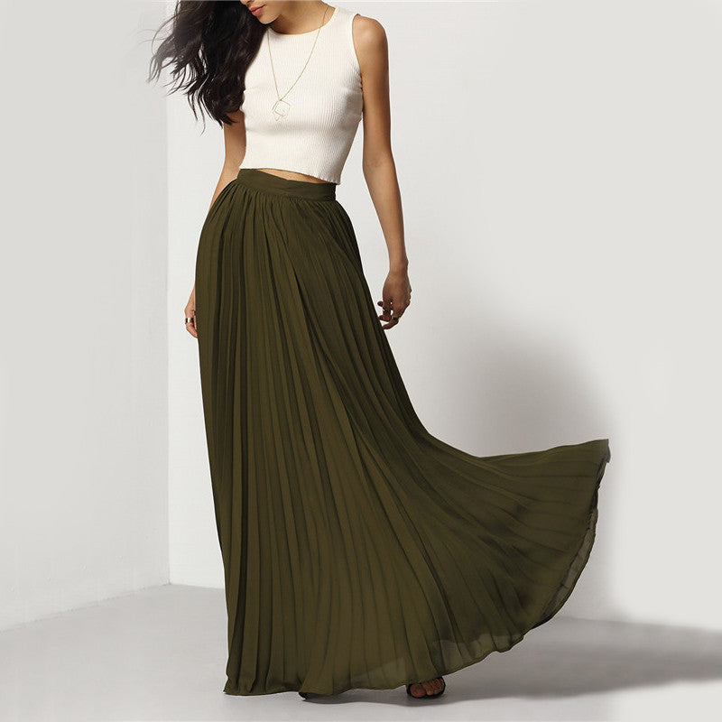 Clemonte Long Pleated Olive Green skirt