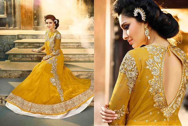 Designer Golden Yellow Floor length gown