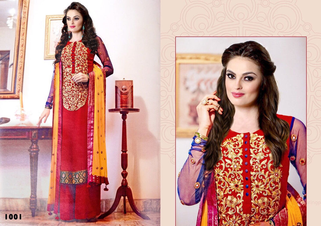 Beautiful Red Blue designer suit unstitched for Karva Chauth