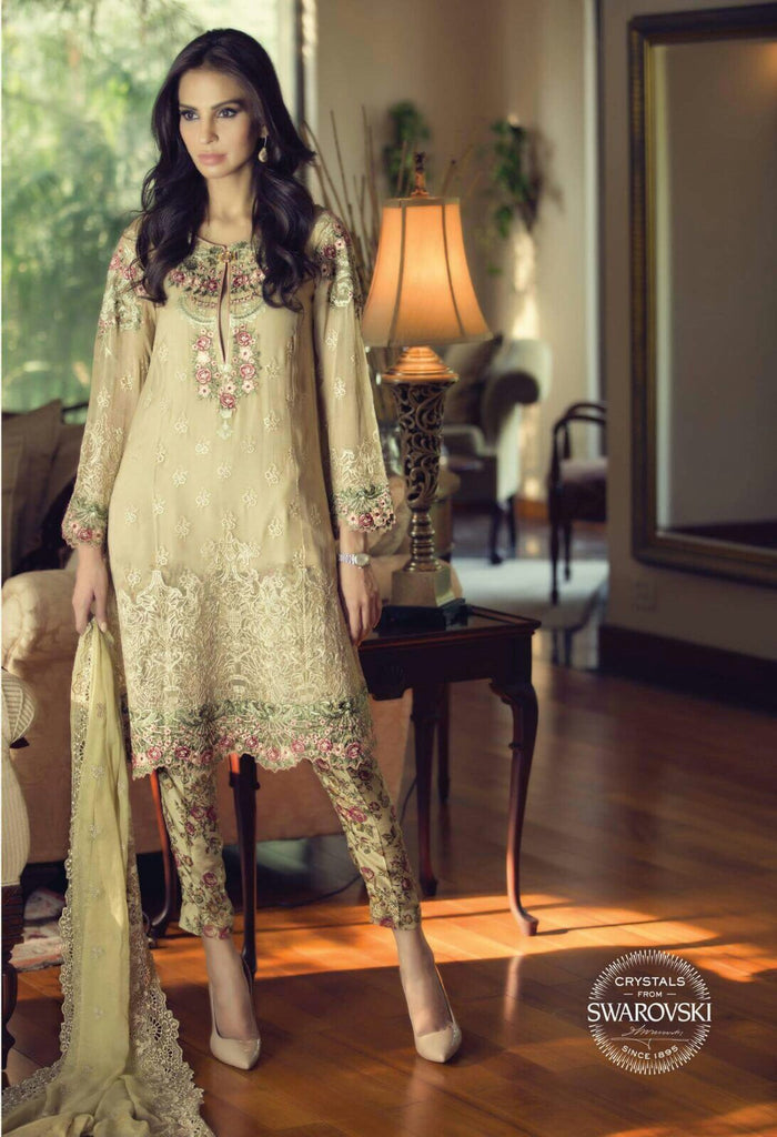 Brown floral chiffon embroidered suit