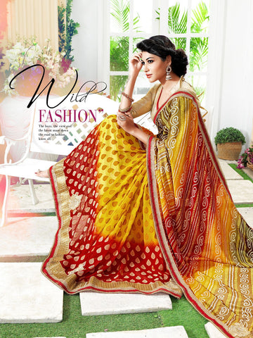 Rajasthani traditional ethnic bandhani print saree : Red yellow