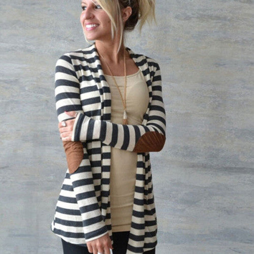 Clemonte Black and white striped Long shrug