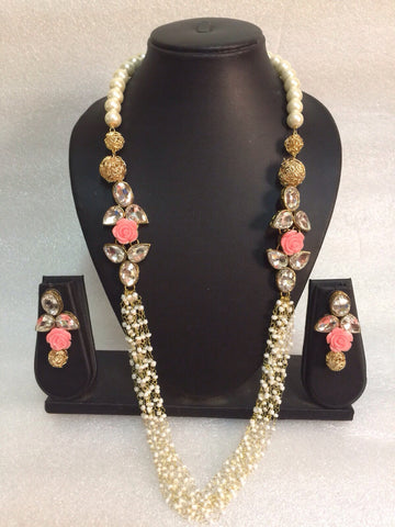 Clemonte Pink rose pearl necklace with earrings