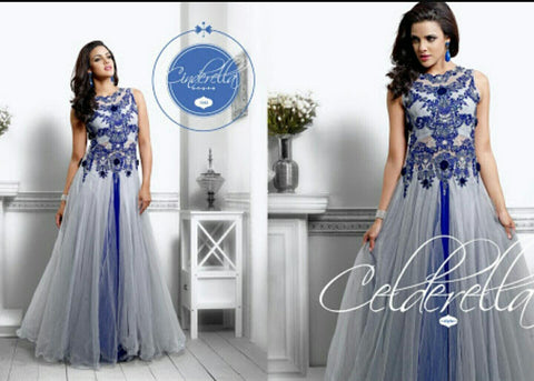 Nihar Glamorous cocktail evening gown for ladies : Embellished Blue