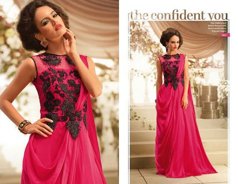 Nihar Glamorous cocktail evening gown for ladies : Hot pink