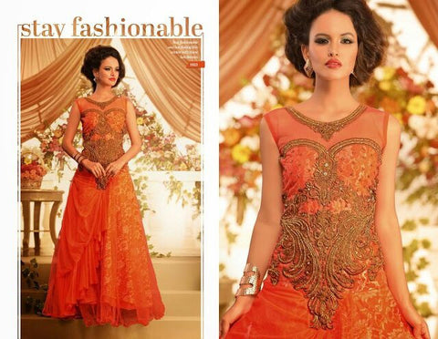 Nihar Glamorous cocktail evening gown for ladies : Orange gold