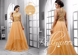 Nihar Glamorous cocktail evening gown for ladies : Light Orange