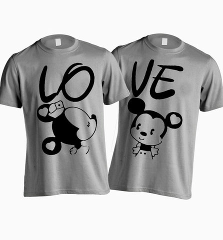 Valentine's couple love mickey and minnie disney t shirts- Set of two - Grey black