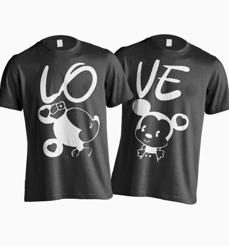 Valentine's couple love mickey and minnie disney t shirts- Set of two - Grey white