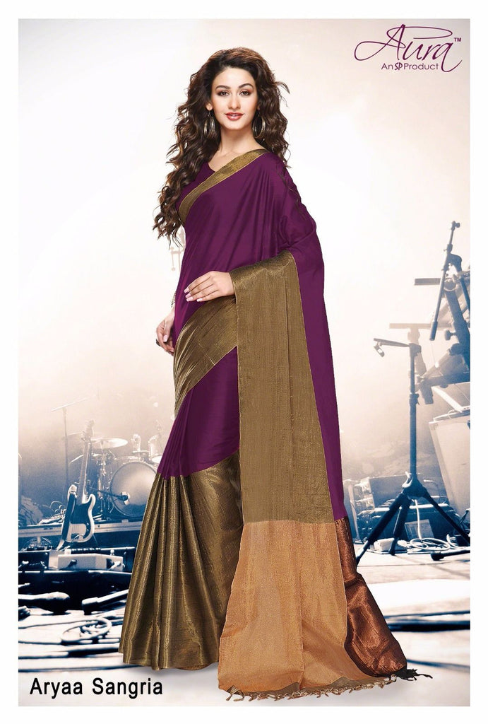 Clemonte Arya sangria purple gold cotton silk saree with unstitched blouse