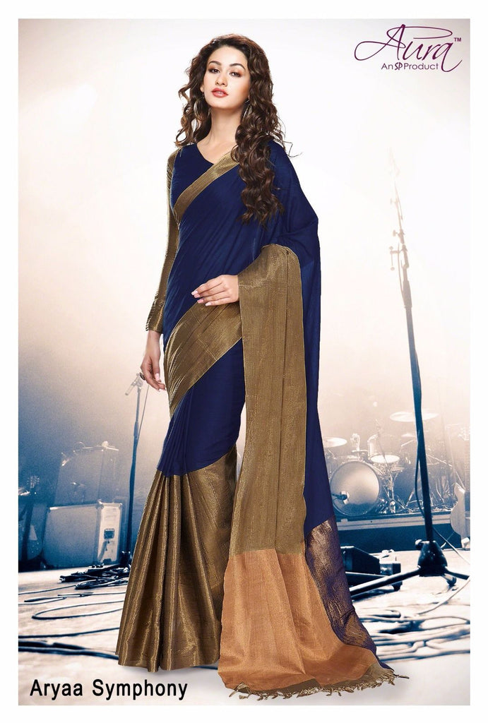 Clemonte Arya symphony blue gold cotton silk saree with unstitched blouse