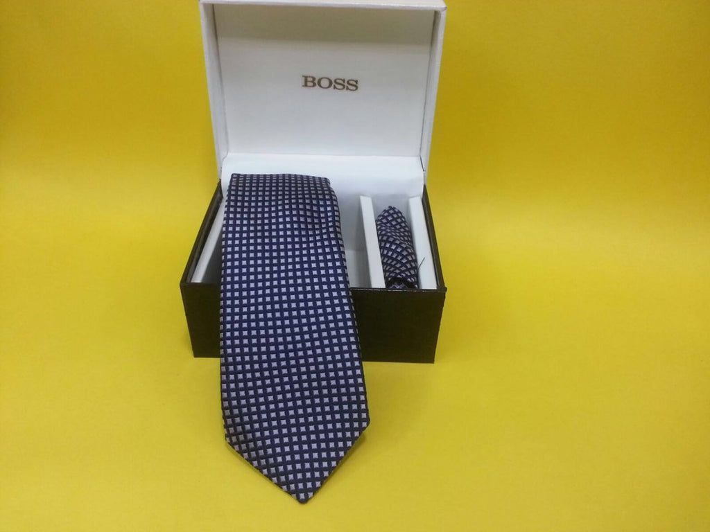 Blue white checkered neck tie  for men