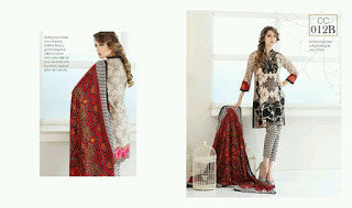 Charizma combination embrodiery collection with woollen shawl - black with red shawl