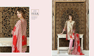 Charizma combination embrodiery collection with woollen shawl - brown with red shawl