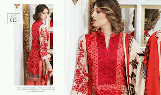 Charizma combination embrodiery collection with woollen shawl - red