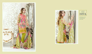 Charizma combination embrodiery collection with woollen shawl - floral neon