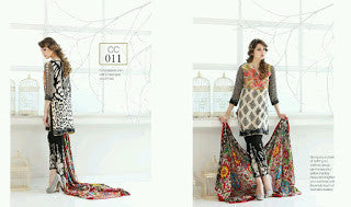 Charizma combination embrodiery collection with woollen shawl - floral black