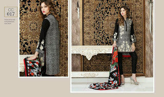 Charizma combination embrodiery collection with woollen shawl - black