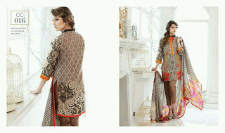 Charizma combination embrodiery collection with woollen shawl - brown floral