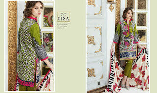 Charizma combination embrodiery collection with woollen shawl - floral green