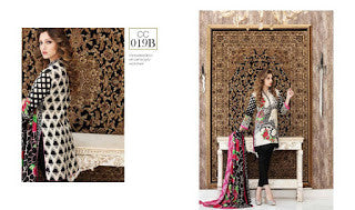 Charizma combination embrodiery collection with woollen shawl - black pink floral