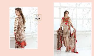 Charizma combination embrodiery collection with woollen shawl - brown red floral