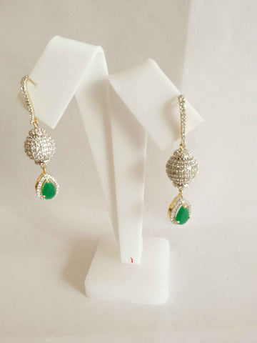 Clemonte Myrah Diamond with emerald green dangler earrings