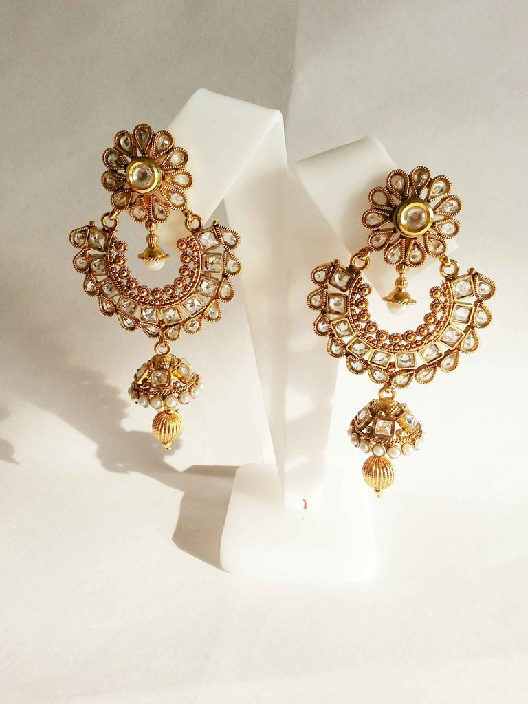 Clemonte Arya Floral chand bali earring with pearl hanging