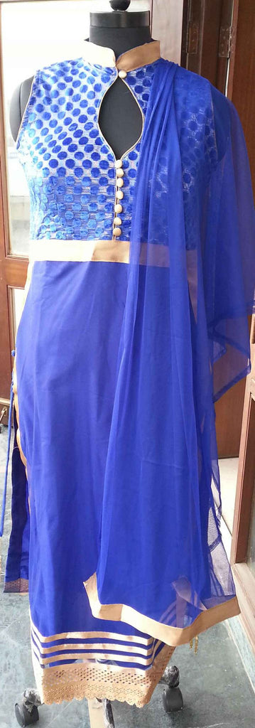 Arya Georgette Royal blue gold anarkali suit