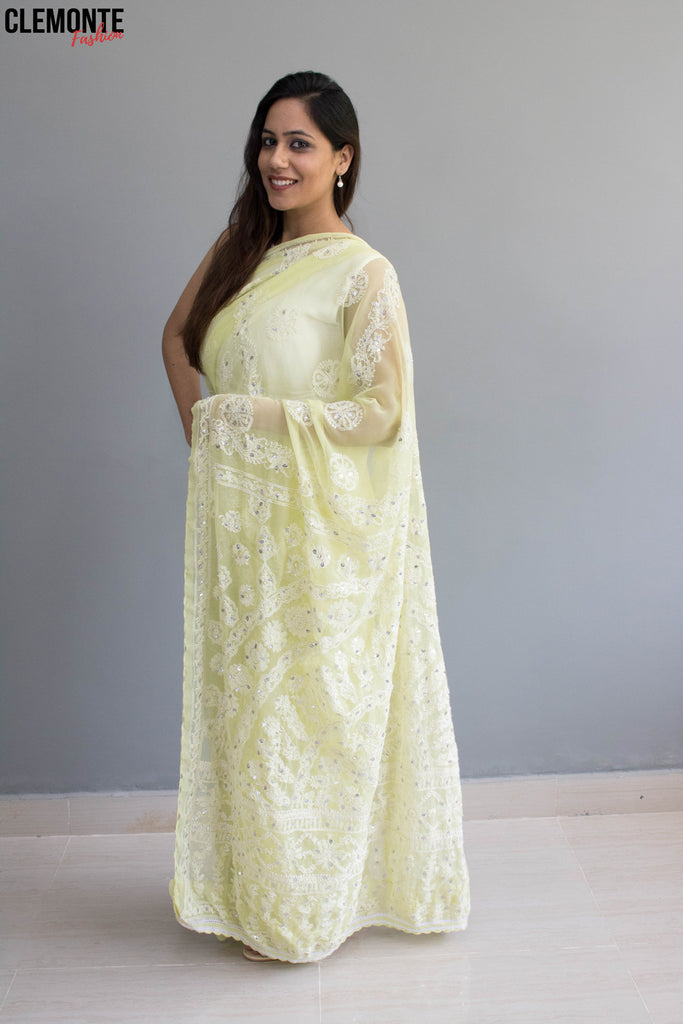 Clemonte Hand Embroidered  faux georgette Lucknow Chikan Saree With Blouse - Lime green