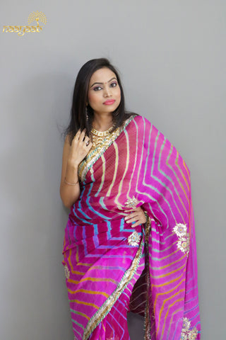 Naayaab Pink Leheriya Gota saree with blouse