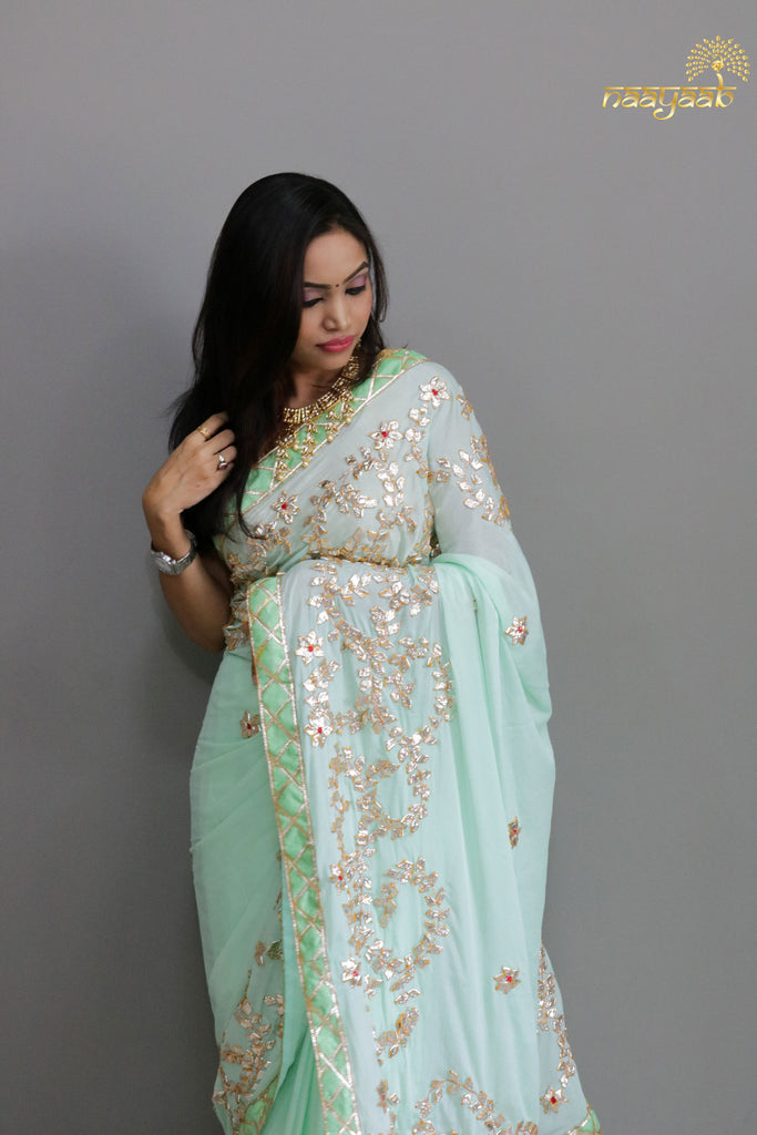 Naayaab Mint Green Gota saree with blouse