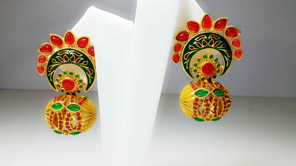 Clemonte Arya Gold Flower Matka design earrings with red and green stones