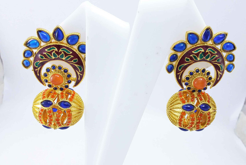 Clemonte Arya Gold Flower Matka design earrings with blue and orange kemp stones