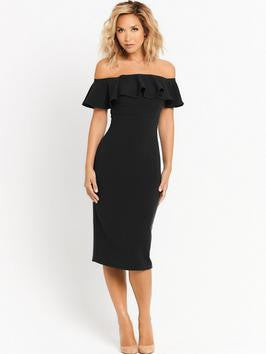 Clemonte Ruffle bardot pencil dress - Black