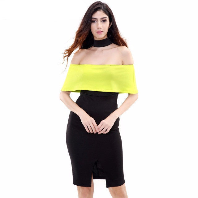 Clemonte Off shoulder  choker dress - Lemon Black