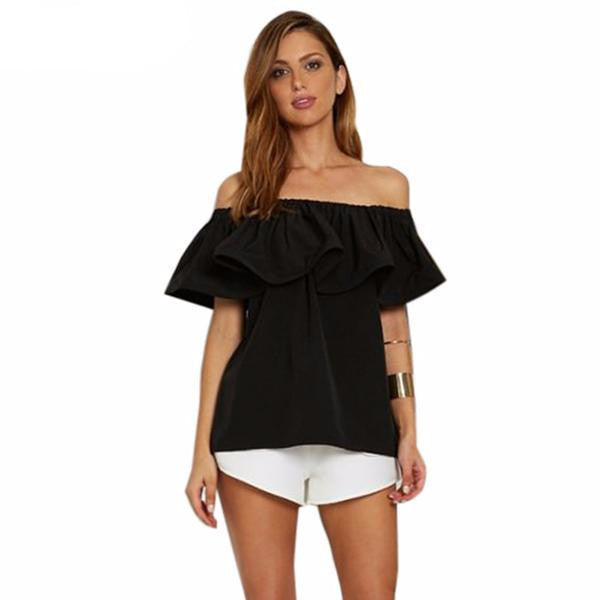 Clemonte off shoulder bardot ruffle top