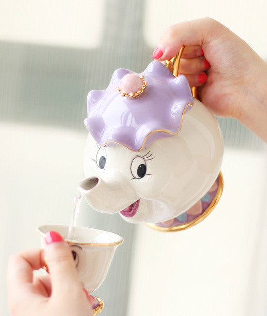 Beauty and the Beast - Mrs Potts and chip : set of one teapot and cup