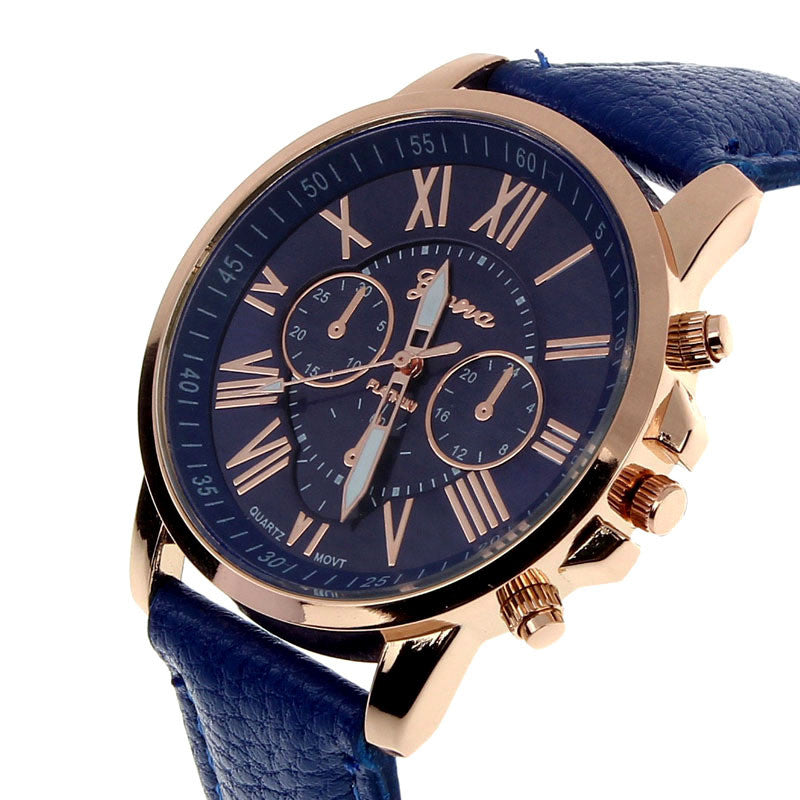 Clemonte Cronus Ladies Watch - Roman Numerals Faux Navy Blue Leather