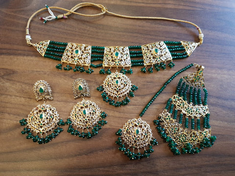 Emerald beads wedding bridal jewellery set