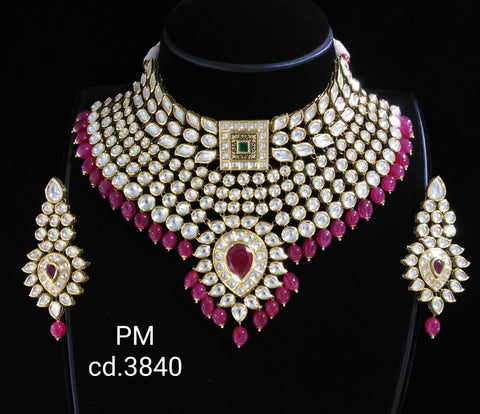 Vivaah wedding bridal choker kundan necklace with earrings - Ruby Red