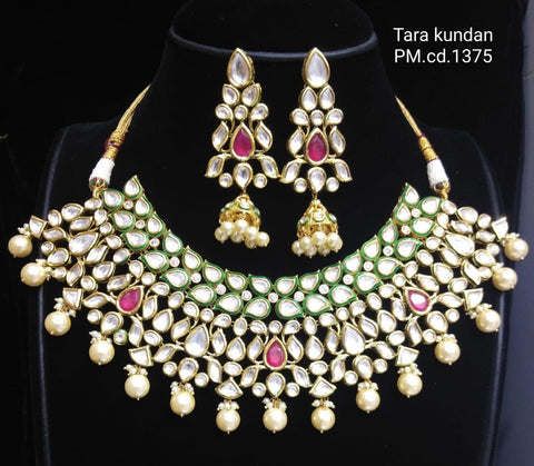 Vivaah wedding bridal choker kundan necklace with earrings - Ruby green